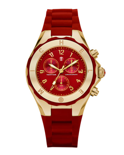 MICHELE Gold Tahitian Large Jelly Bean Watch, Red