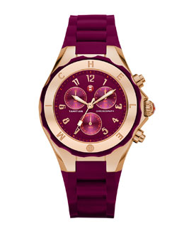 MICHELE Gold Tahitian Large Jelly Bean Watch, Merlot/Rose Gold