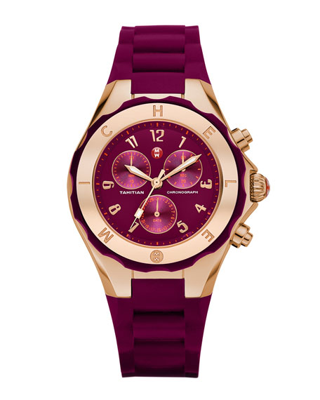 Gold Tahitian Large Jelly Bean Watch, Merlot/Rose Gold