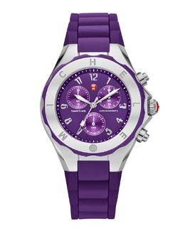 MICHELE Gold Tahitian Large Jelly Bean Watch, Purple/Stainless Steel