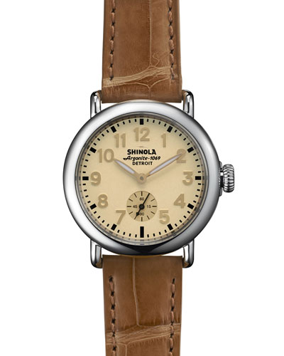 Shinola The Runwell Stainless Watch with Tan Alligator Leather Strap, 36mm