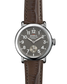 Shinola The Runwell Stainless Watch with Gray Alligator Leather Strap, 36mm