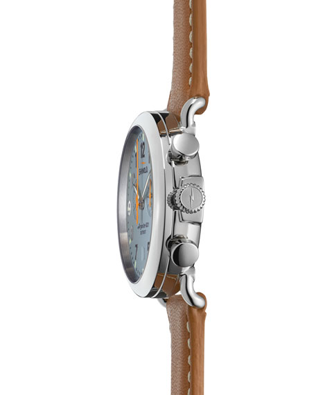 The Runwell Stainless Watch with Gray Dial & Tan Leather Strap, 41mm