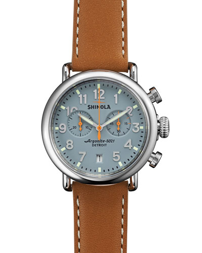 Shinola The Runwell Stainless Watch with Gray Dial & Tan Leather Strap, 36mm
