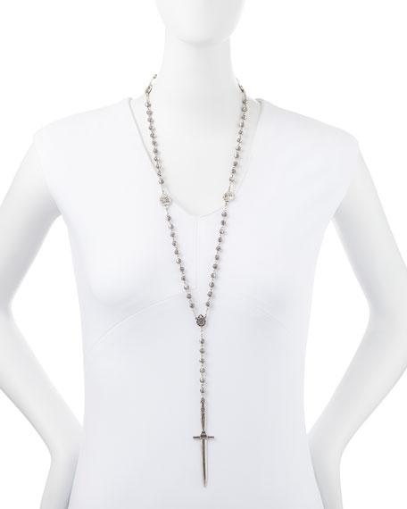 Pamela Love Sterling Silver Dagger Rosary Necklace