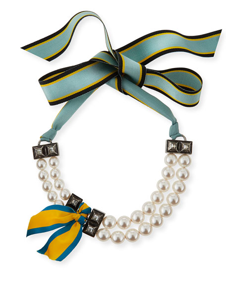 Short Striped Grosgrain Pearly Bib Necklace