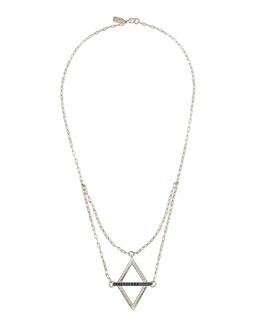 Pamela Love Silver Balance Pendant Necklace with Blue Sapphires