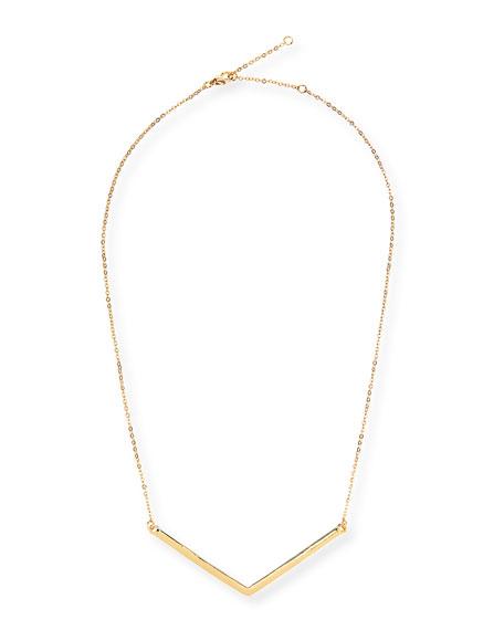 Chevron Charm Necklace, Golden