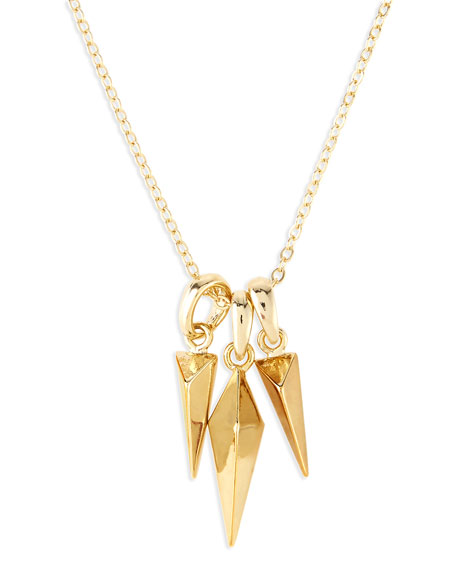 Jules Smith Triple Stud Charm Necklace, Golden
