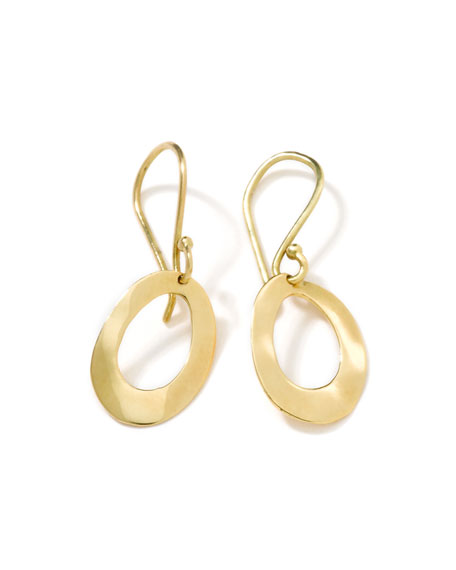 18k Gold Wavy Oval Earrings