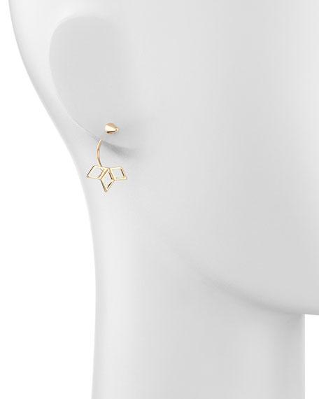 Spike Earrings with Petals, Golden