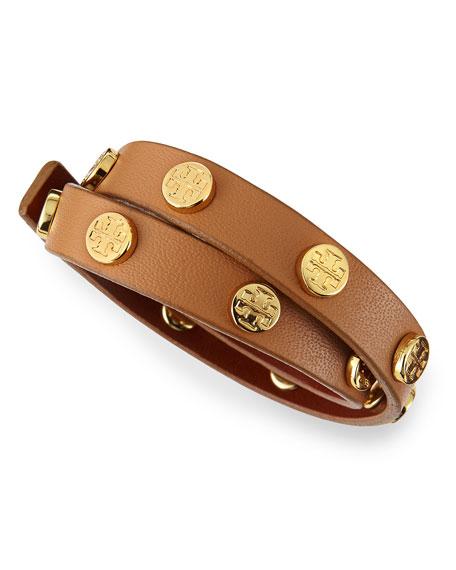 Logo-Studded Leather Wrap Bracelet, Aged Vachetta