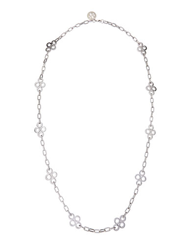 Tory Burch Long Silvertone Clover Necklace