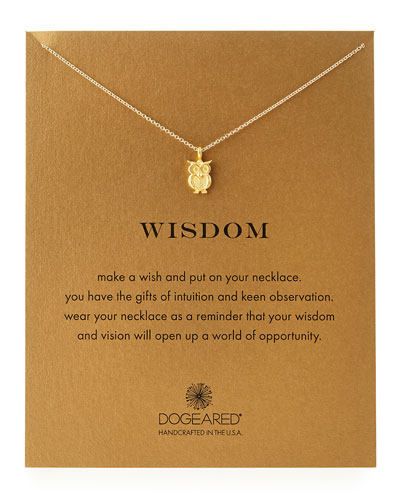 Dogeared Gold-Dipped Wisdom Owl Necklace