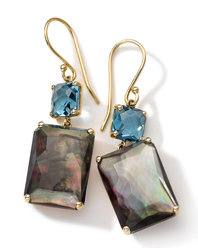 18k Gold Rock Candy Gelato Topaz & Black Shell Earrings