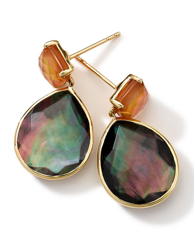 Ippolita 18k Gold Rock Candy Gelato Orange Citrine & Black Shell Earrings