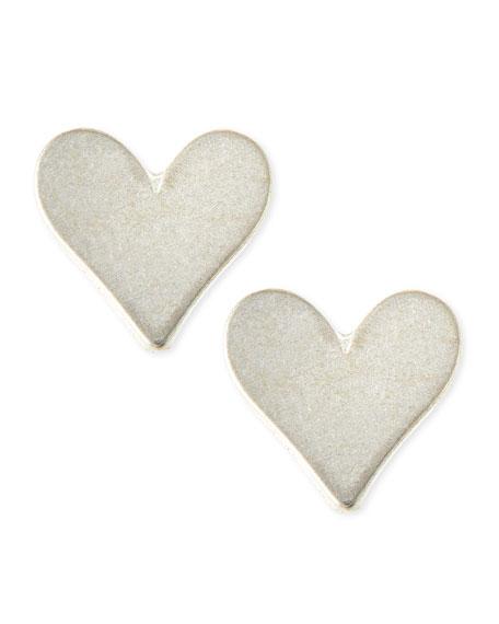 Sterling Silver Flat Heart Stud Earrings