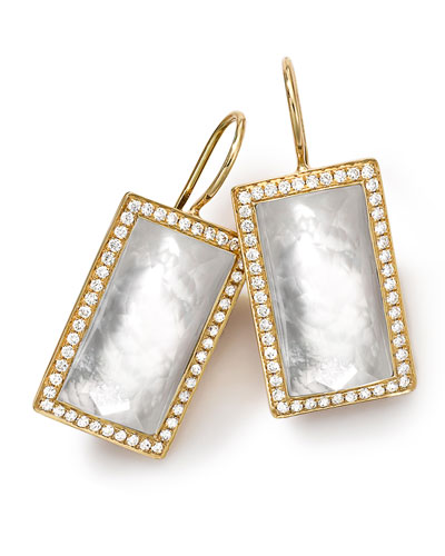 18k Gold Gelato Small Baguette Mother-of-Pearl Earrings with Diamonds