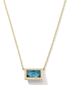 Ippolita 18k Gold Gelato Medium Baguette Topaz Necklace with Diamonds