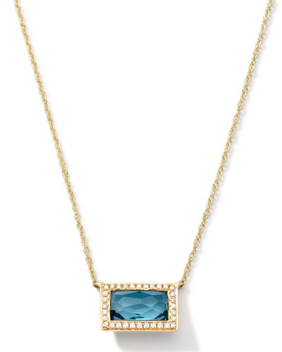 18k Gold Gelato Medium Baguette Topaz Necklace with Diamonds