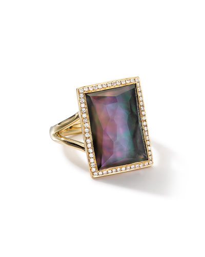 18k Gold Gelato Medium Black Shell Baguette Ring with Diamonds