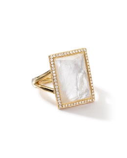 Ippolita 18k Gold Gelato Medium Mother-of-Pearl Baguette Ring with Diamonds