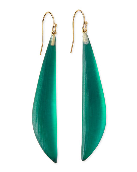 Long Angled Lucite Drop Earrings Made To Order Black Forest Green