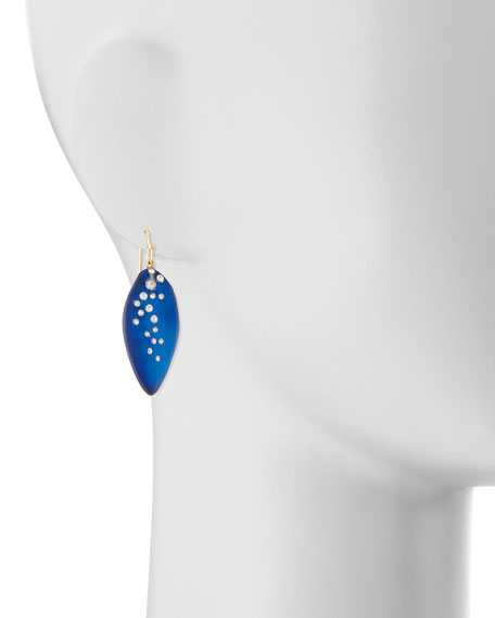 Medium Crystal-Dust Lucite Leaflet Earrings (Made to Order), Cobalt