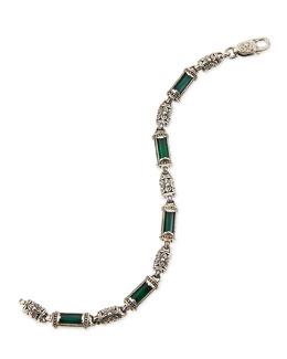 Konstantino Ismene Green Agate & Silver Bracelet