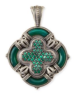 Konstantino Ismene Clover Pendant with Green Agate