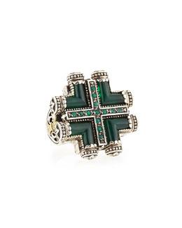 Konstantino Silver & Gold Green Agate Maltese Cross Ring