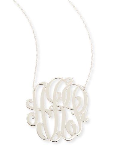 Jennifer Zeuner Silver Large 3-Letter Monogram Necklace