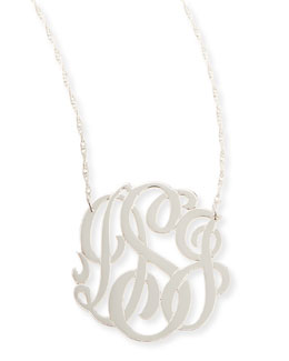 Jennifer Zeuner Silver Medium 3-Letter Monogram Necklace