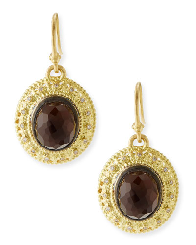 Armenta Gold Smoky Quartz Earrings with Diamonds