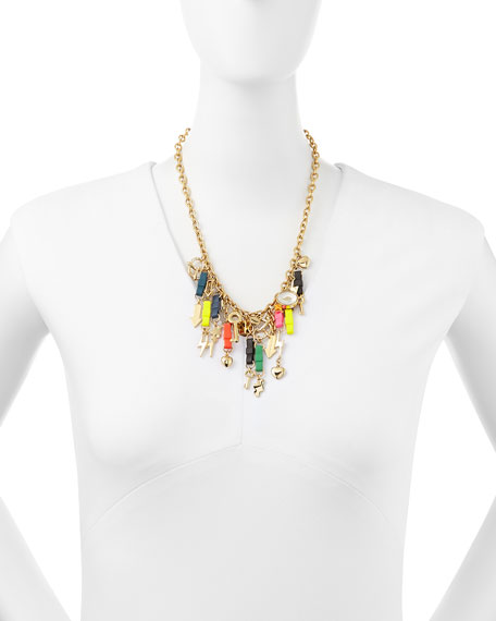 Bow Tie Charm Mash-Up Necklace, Multicolor