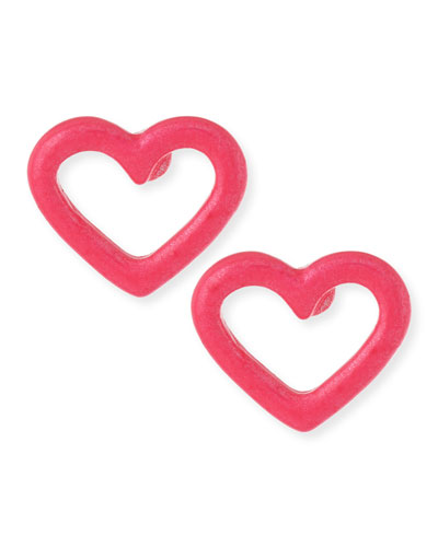Open Heart Stud Earrings, Pink