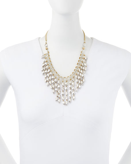 Diamond-Beaded Fringe Necklace