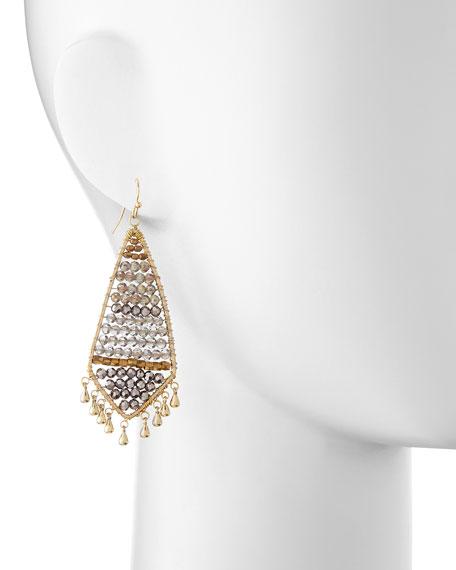 Czech Crystal Beaded Fringe Earrings, Smoke/Golden