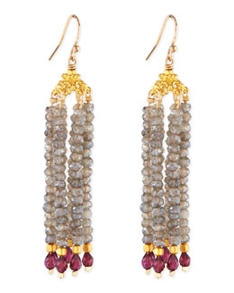 Dina Mackney Labradorite & Garnet Bead Chandelier Earrings