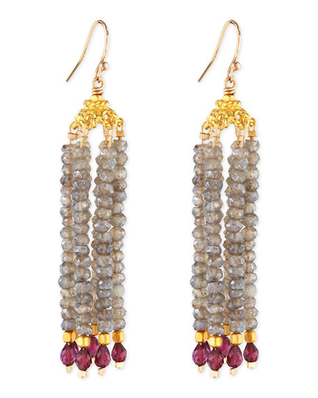Dina Mackney Labradorite & Garnet Bead Chandelier Earrings