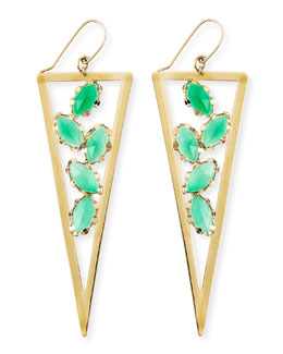 Lana Ultra Envy 15k Gold Green Onyx Spike Earrings