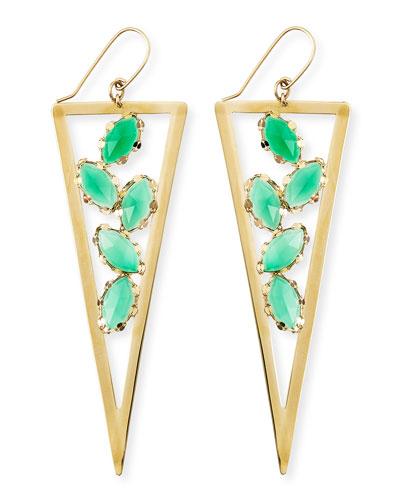 Lana Ultra Envy 14k Gold Green Onyx Spike Earrings