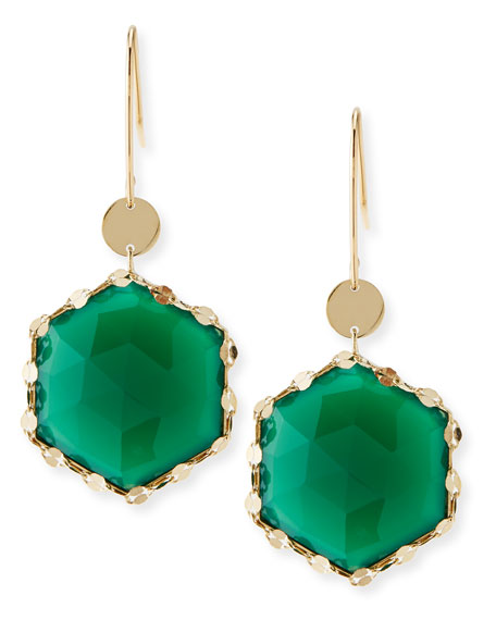 Envy Hexagon Green Onyx Earrings