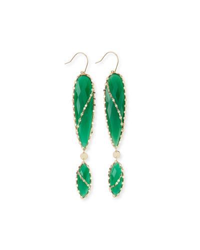 Lana Envy Green Onyx Double-Drop Earrings
