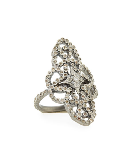 New World Diamond Scrolls Ring, Size 6.5