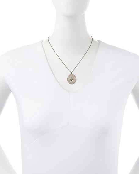 Large Pave Diamond Oval Pendant Necklace