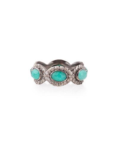 Armenta Stackable Malachite/Blue Topaz & Diamond Ring,  Size 6.5