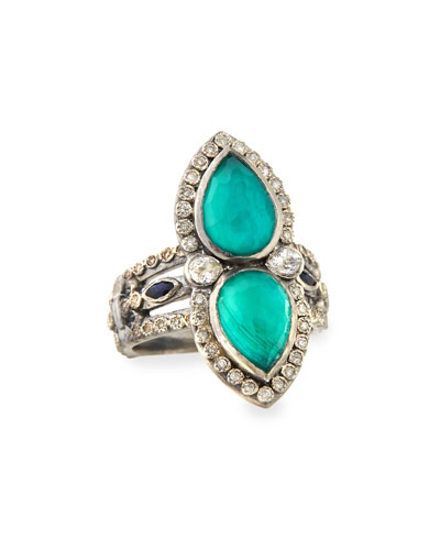 Armenta Malachite & London Blue Topaz Pear Ring