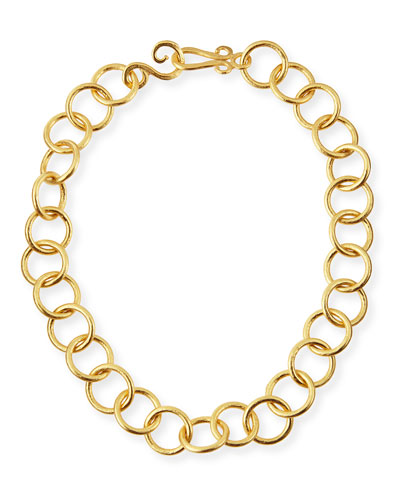 24k Gold-Plated Bronze Classic Link Necklace, 18""