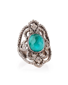 Armenta New World Scroll Ring with Malachite/Blue Topaz & Diamonds